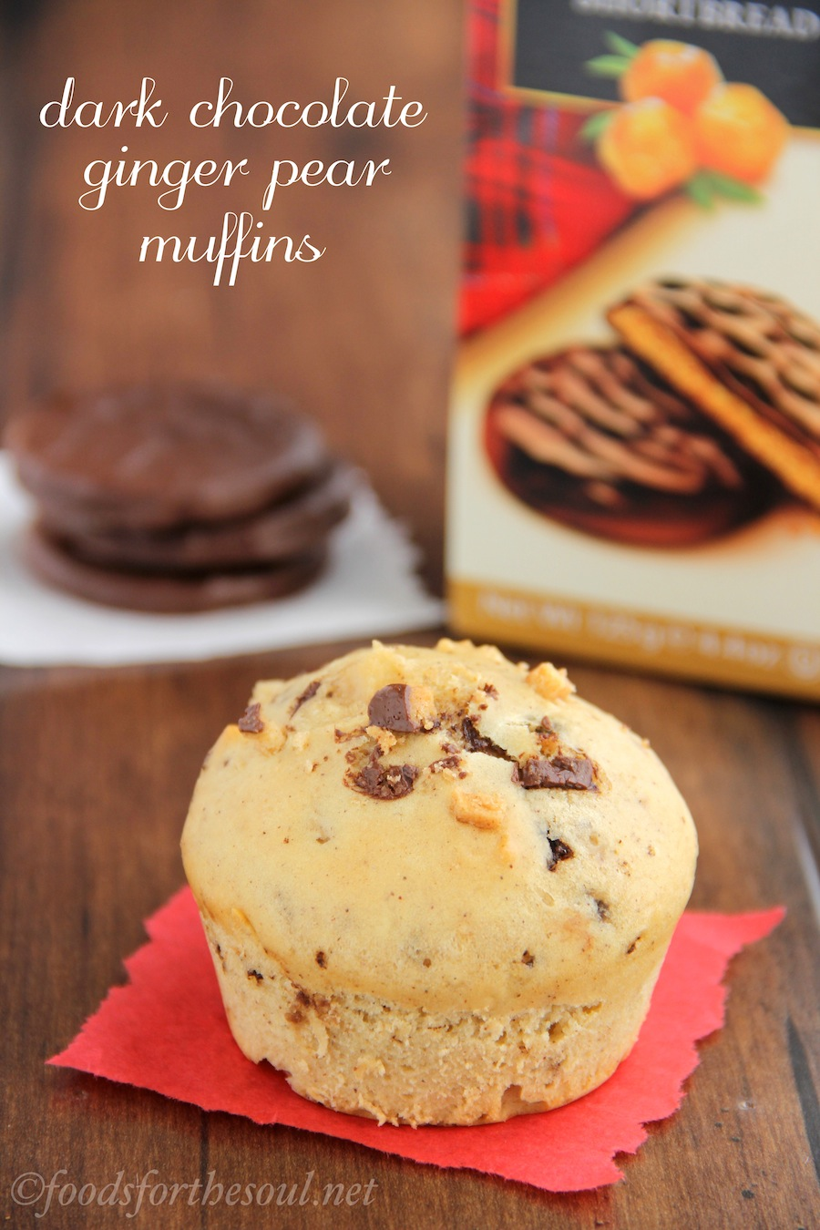 Dark Chocolate Ginger Pear Muffins