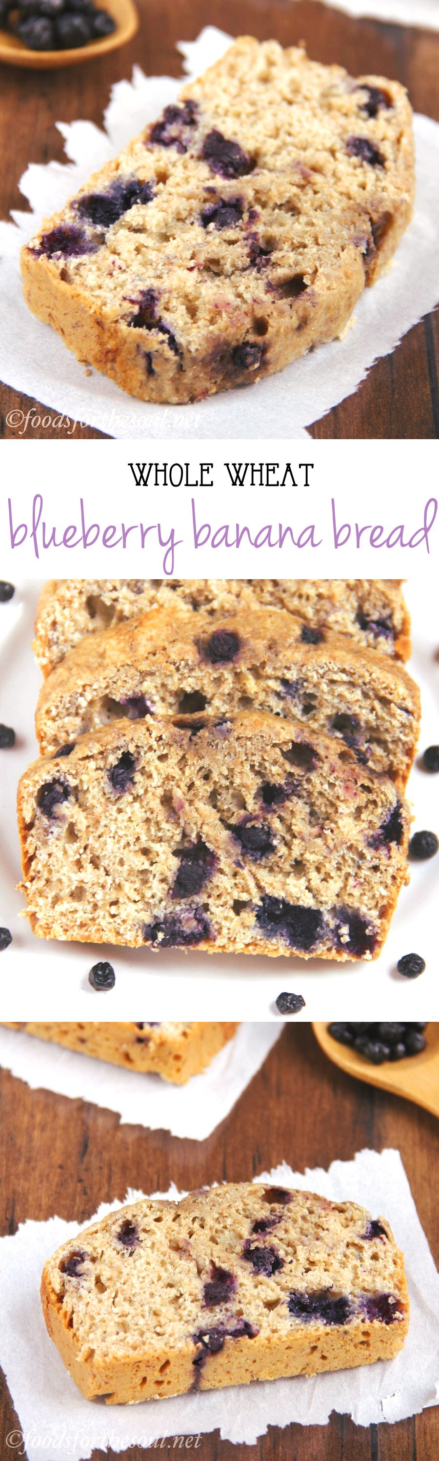Whole Wheat Blueberry Banana Bread -- an easy recipe for a skinny, clean-eating treat! Just 125 calories & almost 4g of protein!