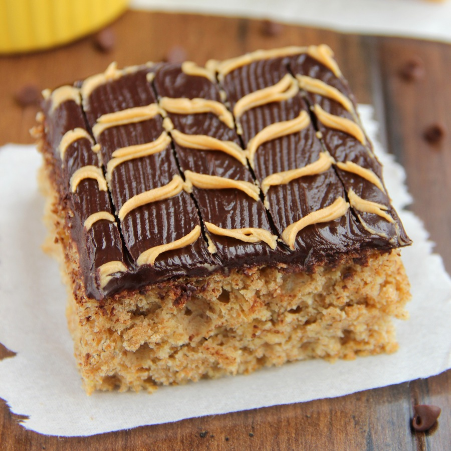 Banana Cake with Fudgy Chocolate Peanut Butter Swirl Frosting