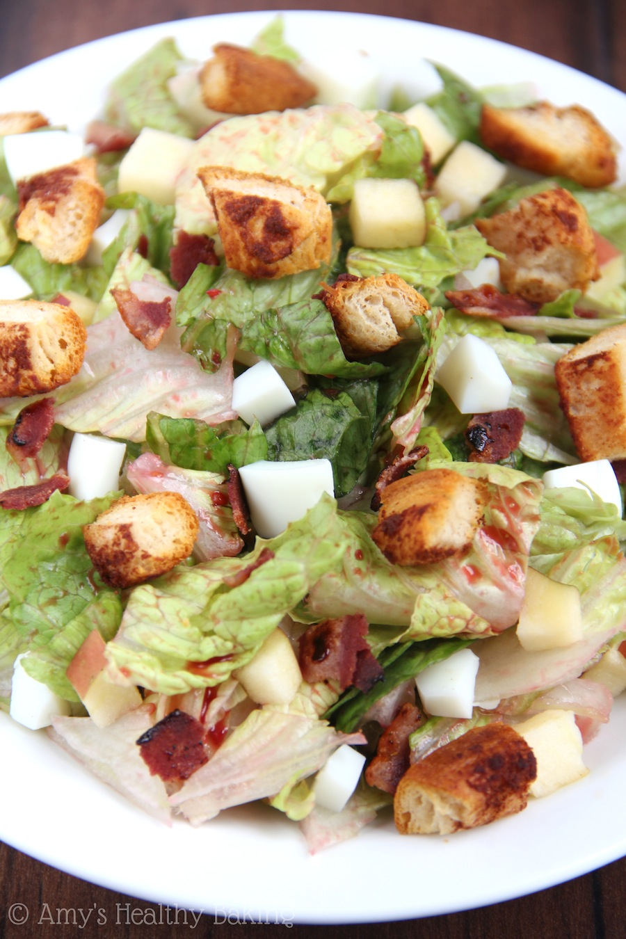 Breakfast Salad with Cinnamon Roll Croutons -- packed with protein & still deliciously sweet!