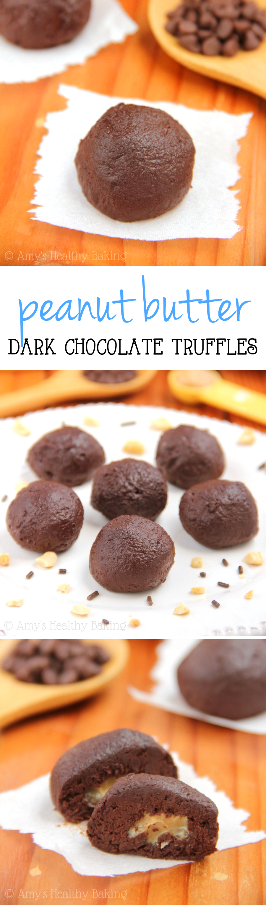 Dark Chocolate Peanut Butter Truffles -- an clean-eating treat made with NO butter or heavy cream! Just 5 healthy ingredients!