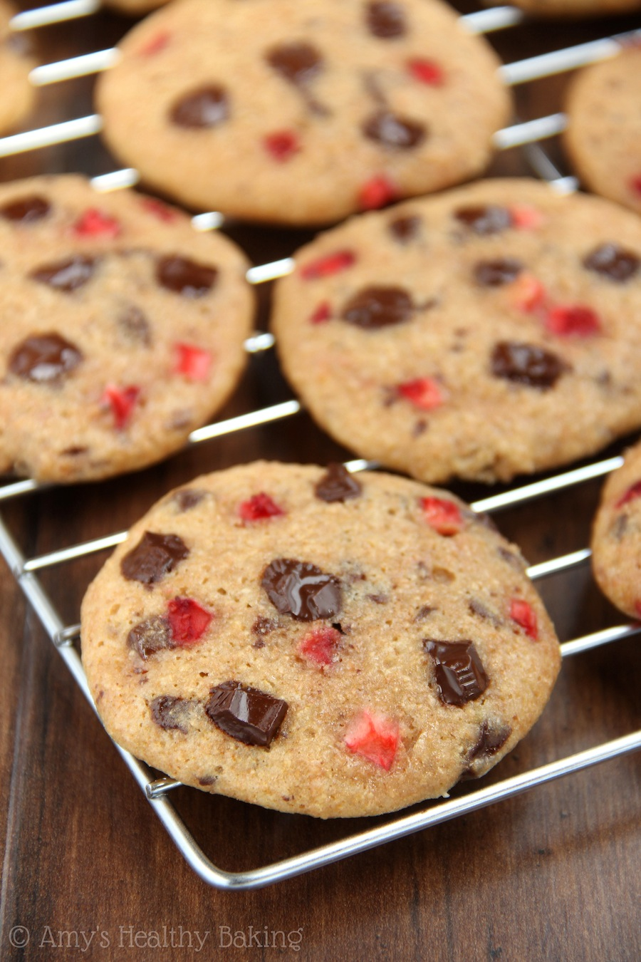 Strawberry Chocolate Chunk Cookies -- so soft & chewy! They don't taste healthy at all. You NEED to try these; they're incredible!