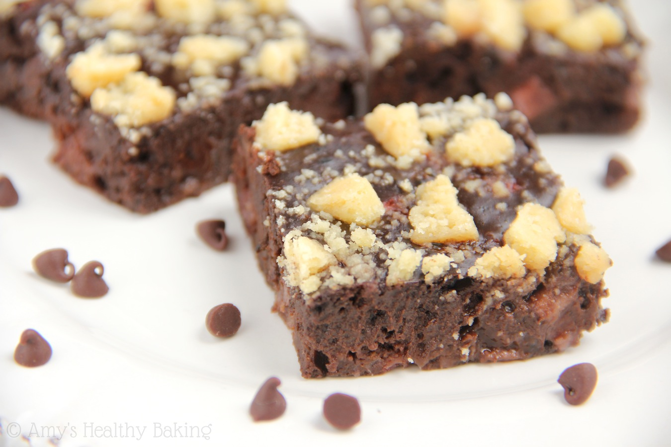 Fudgy Strawberry Shortbread Brownies -- dark chocolaty, decadent & just as easy as a box mix!