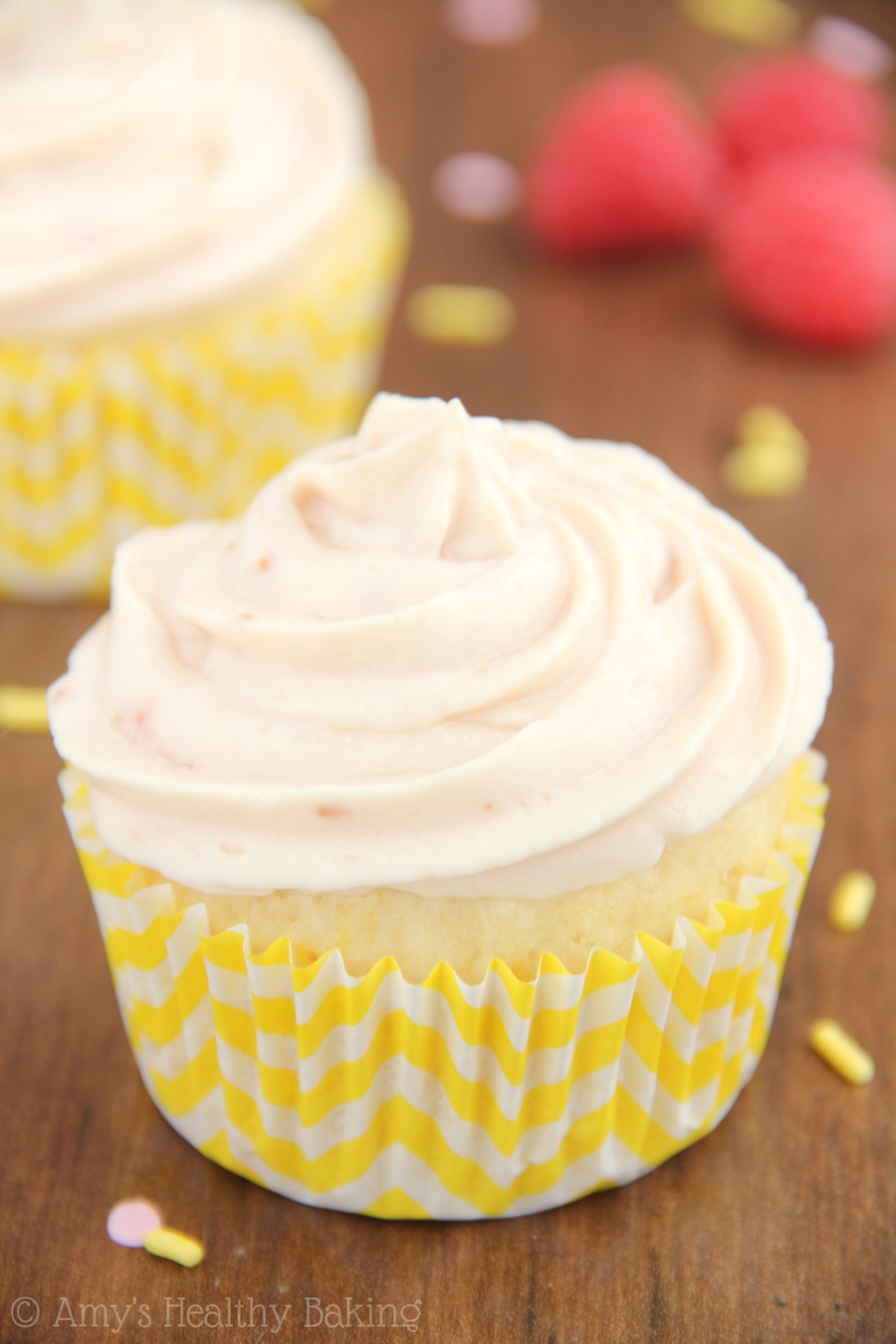 Skinny lemon cupcakes -- barely 160 calories! The BEST vanilla frosting I've ever had & it contains NO butter or powdered sugar!