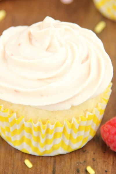 Lemon Cupcakes with Raspberry Vanilla Yogurt Frosting