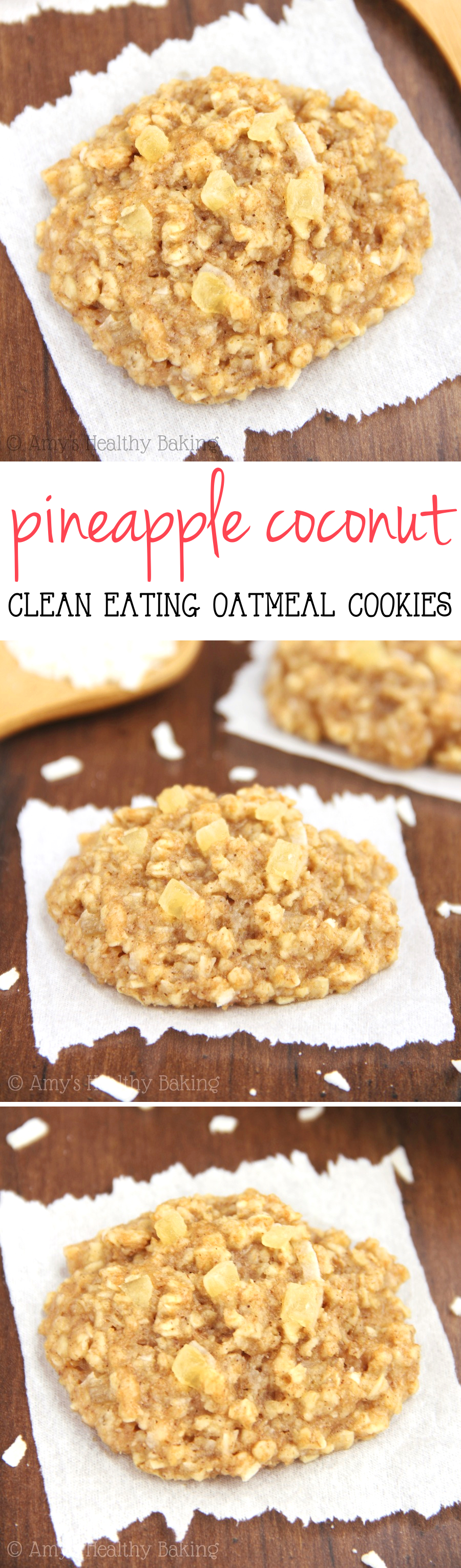 Clean-Eating Pineapple Coconut Oatmeal Cookies -- these skinny cookies don't taste healthy at all! You'll never need another oatmeal cookie recipe again!