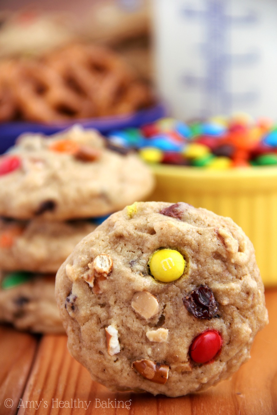 Trail Mix Cookies -- M&Ms, PB chips & more stuffed inside super soft cookies!