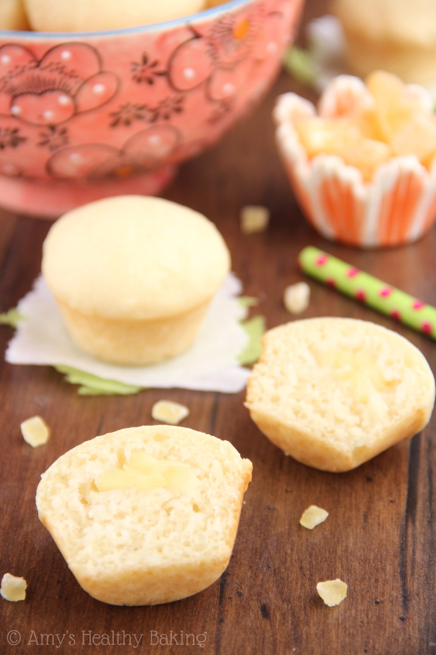 Coconut muffins with a juicy pineapple center -- like a piña colada, sans rum! Secretly skinny to get you bikini ready in no time!