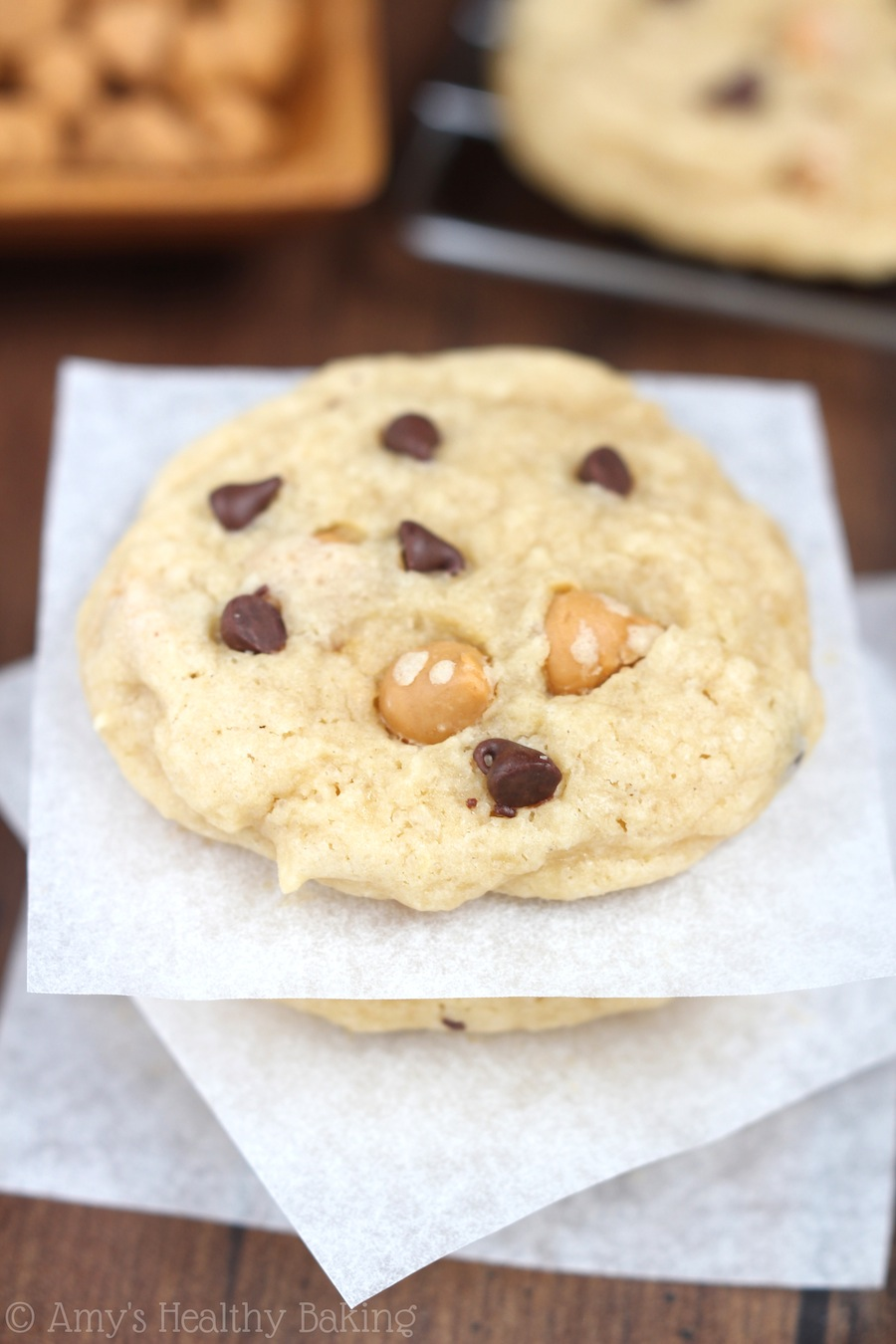 The best easy recipe for lightened up Butterscotch Chocolate Chip Cookies. They taste so buttery -- not healthy at all!
