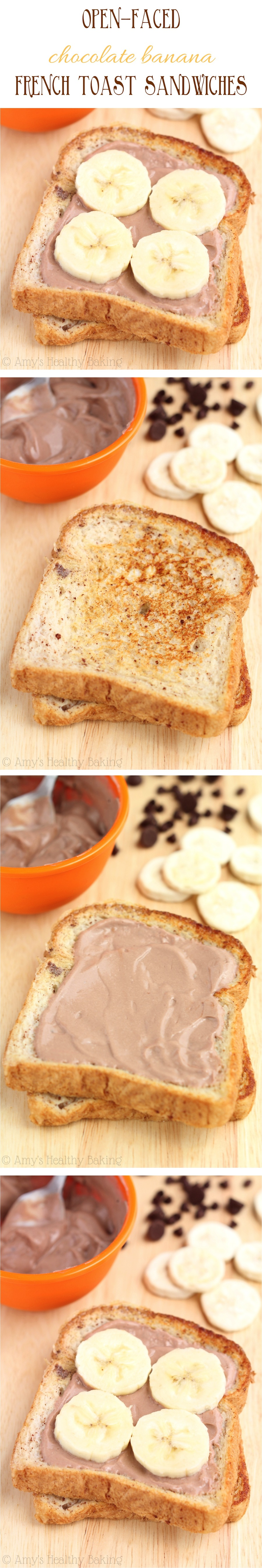 Open-Faced Chocolate Banana French Toast Sandwiches -- clean-eating & so easy. Even my breakfast-hater loved this recipe!