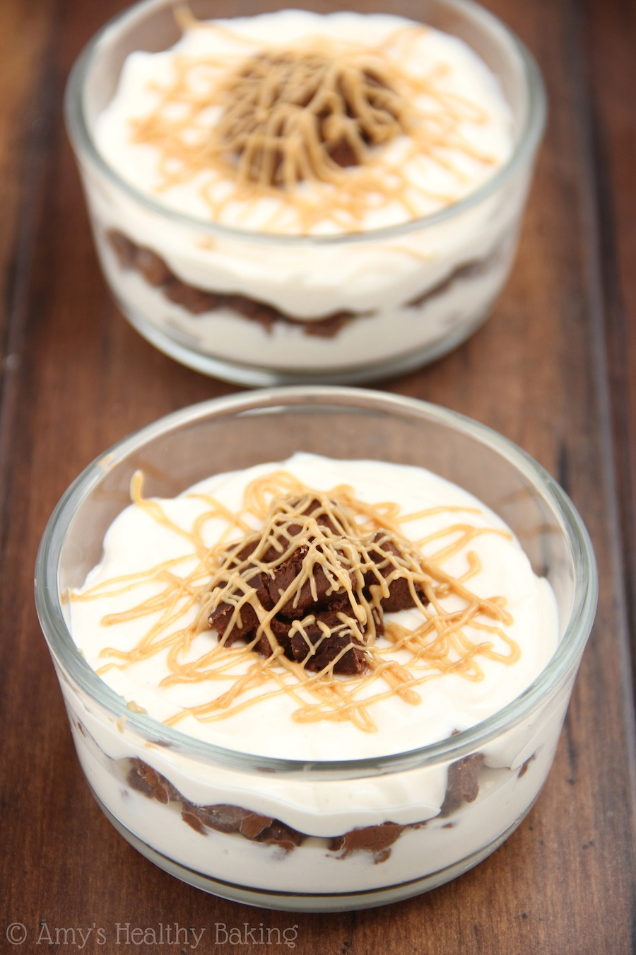 These parfaits taste like a big peanut butter cup! Ready in 20 minutes, plus they're healthy & clean eating!