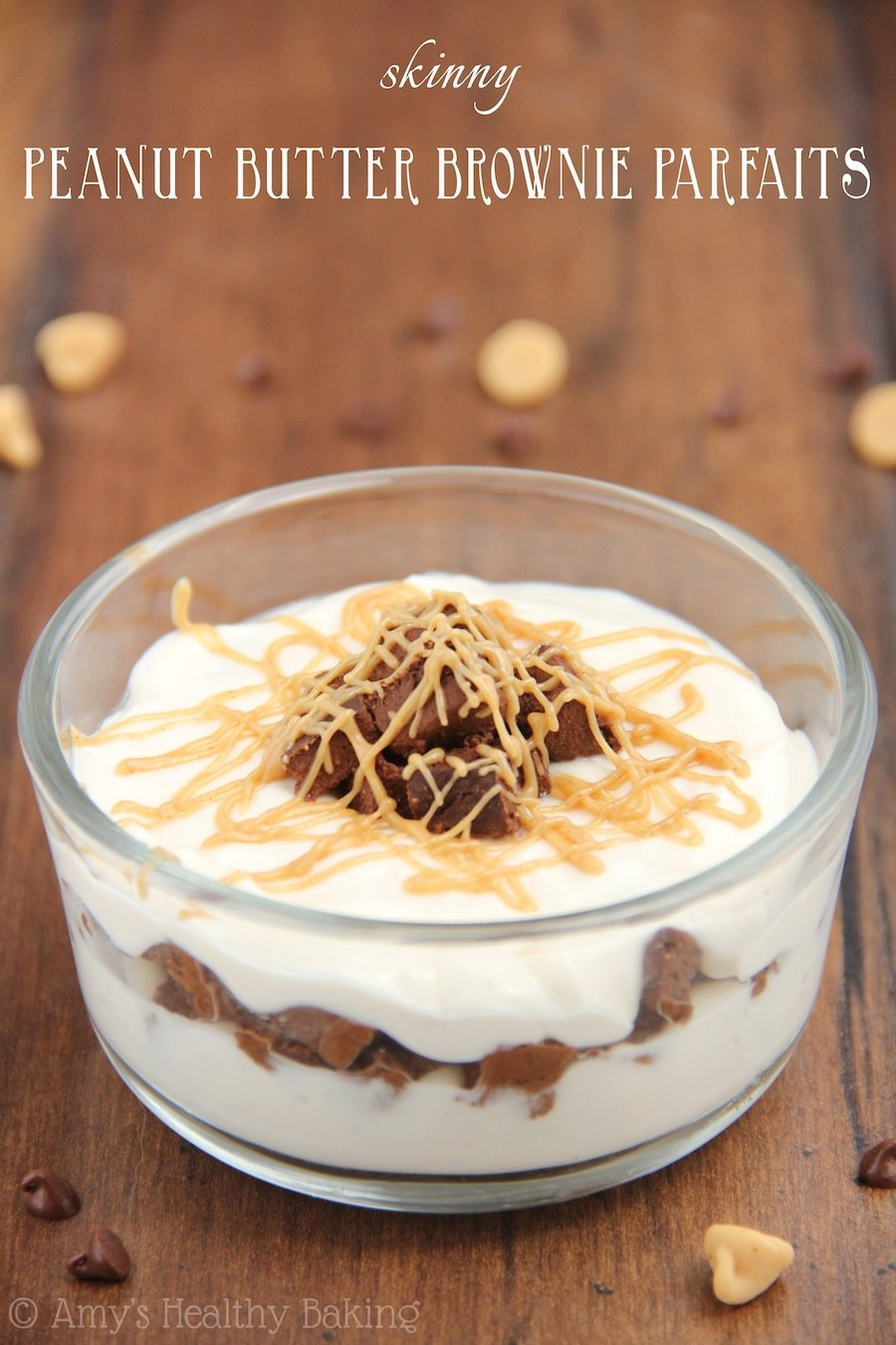 Skinny Peanut Butter Brownie Parfaits
