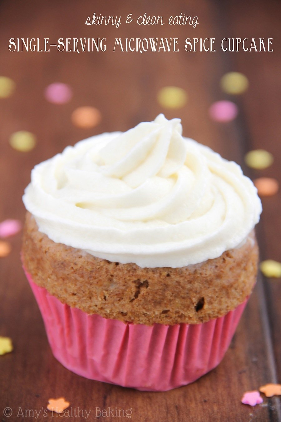 A sweet cinnamon cupcake you can make in the microwave! It's the perfect skinny & clean-eating treat!