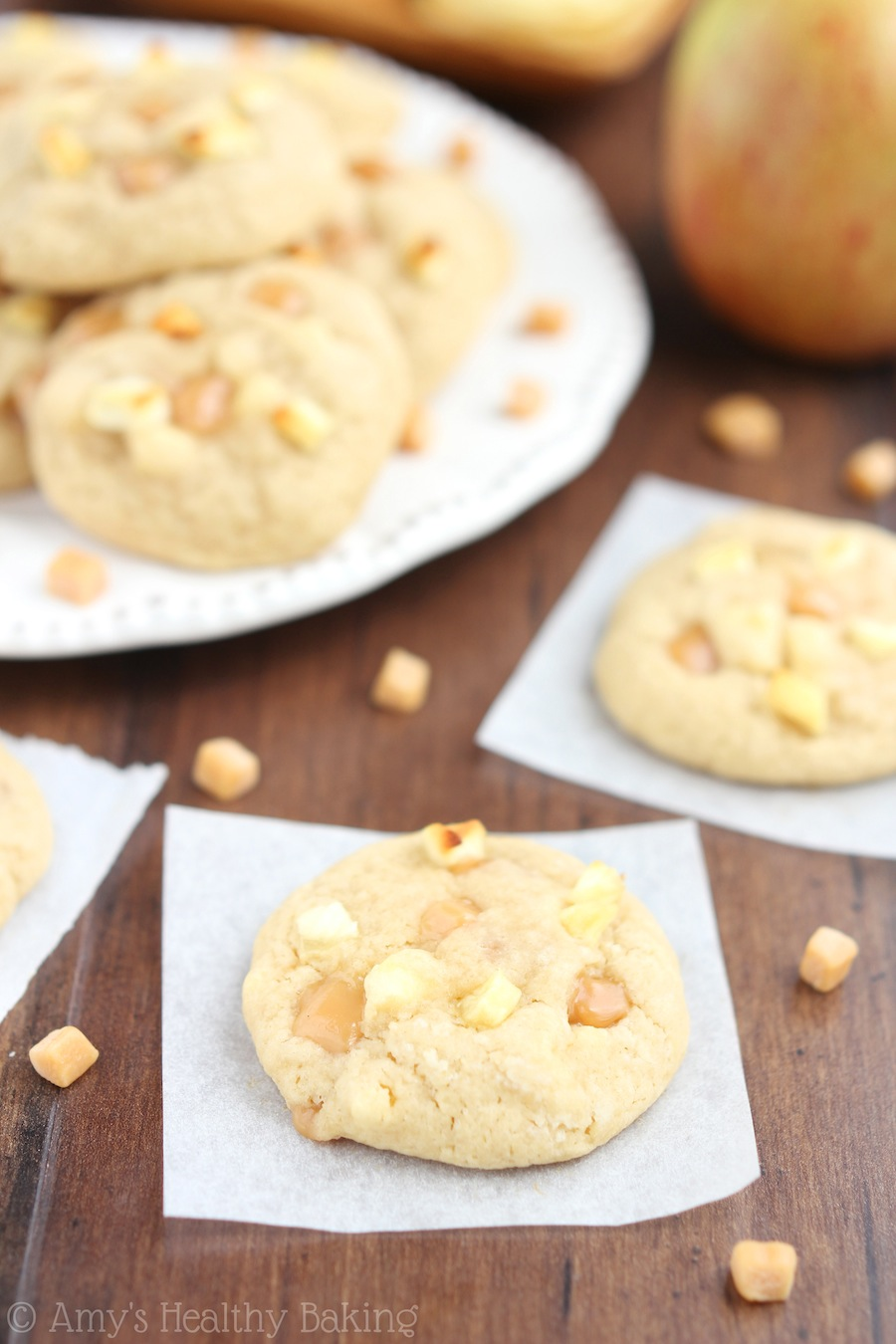 Caramel Apple Cookies -- so buttery & secretly healthy. There's never a single crumb left when I make this recipe!