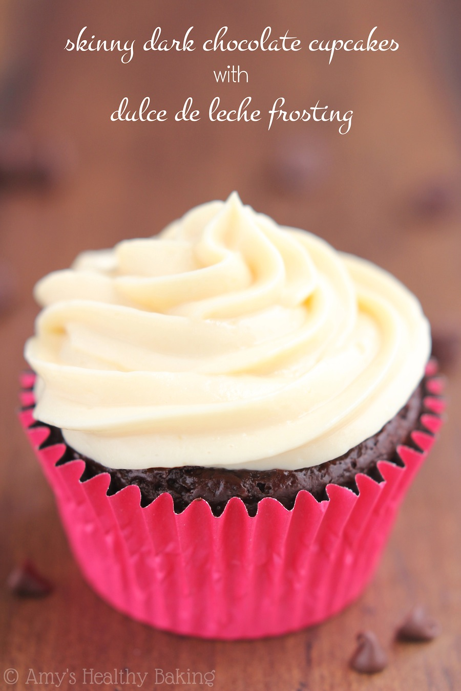 Skinny Chocolate Cupcakes with Dulce de Leche Frosting -- this healthy recipe doesn't taste lightened up at all!