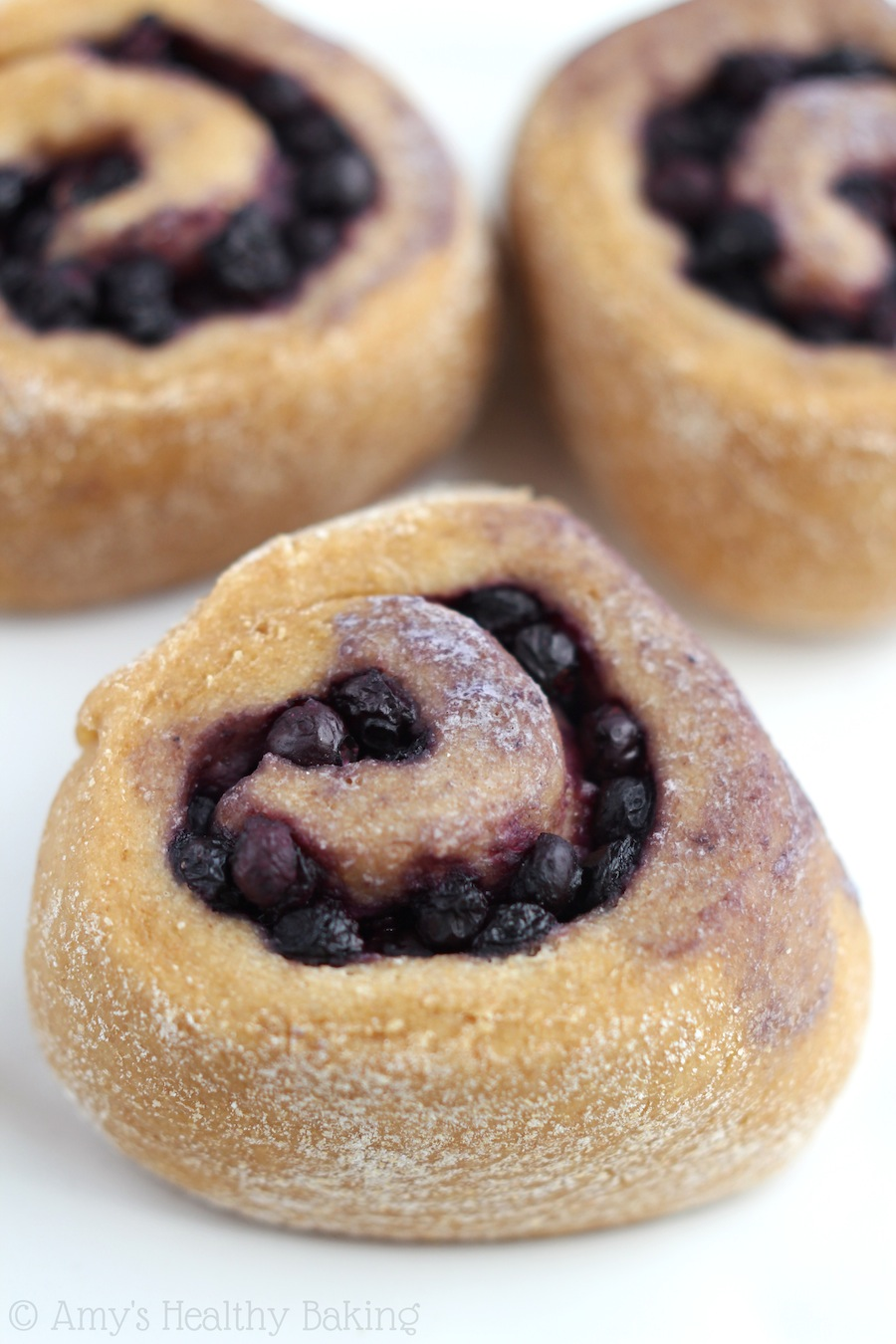 Overnight Whole Wheat Blueberry Rolls -- an easy, fail-proof recipe for a sweet healthy & clean-eating breakfast!