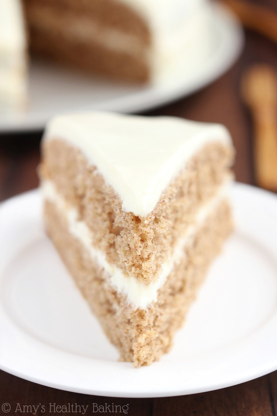 Spiced Hummus Cake with Vanilla Yogurt Frosting -- a healthy recipe with a sweet tahini flair!