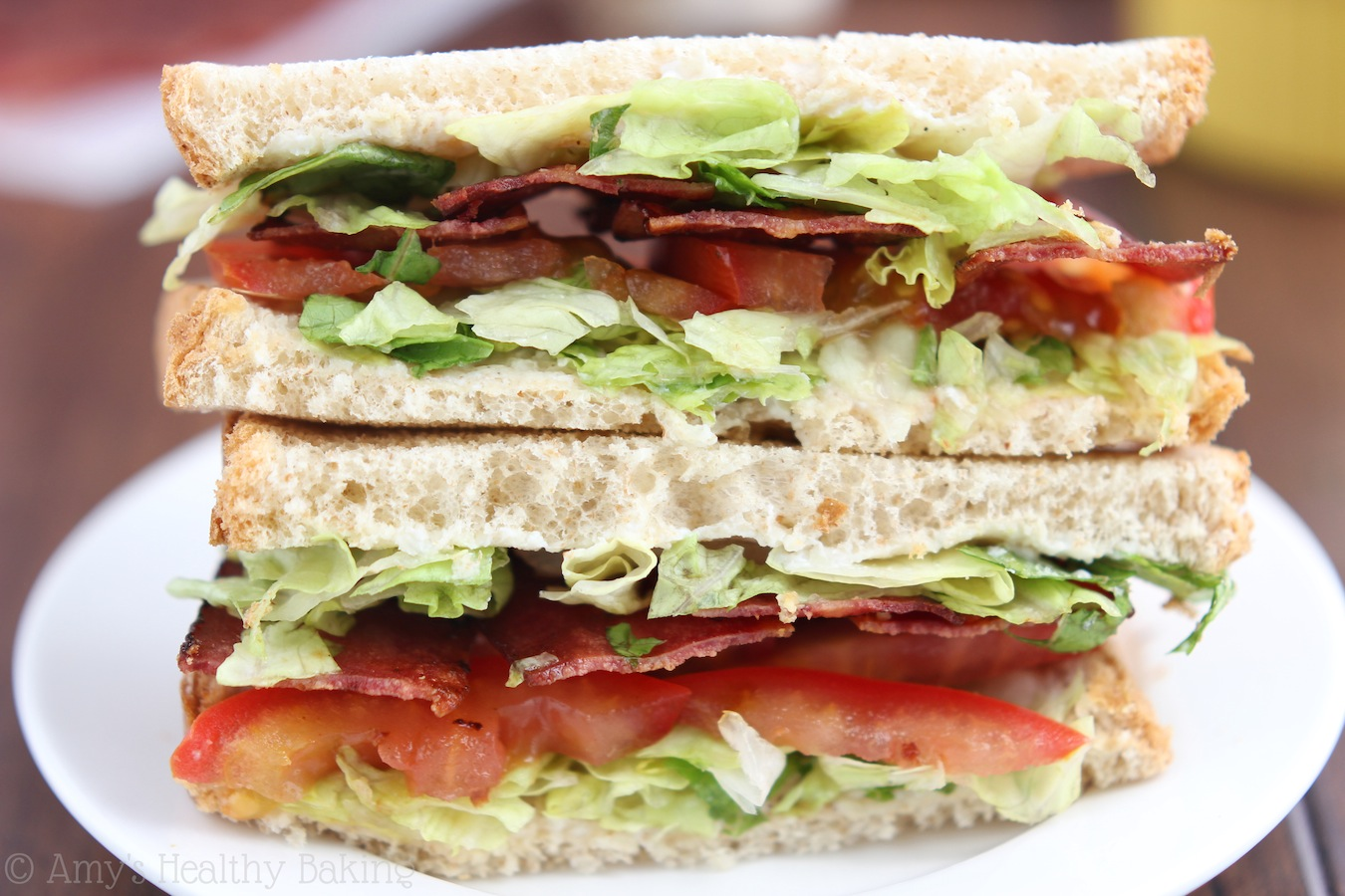 Skinny BLTs with White Garlic Sauce -- a healthy recipe with less than half the calories & 79% less fat!