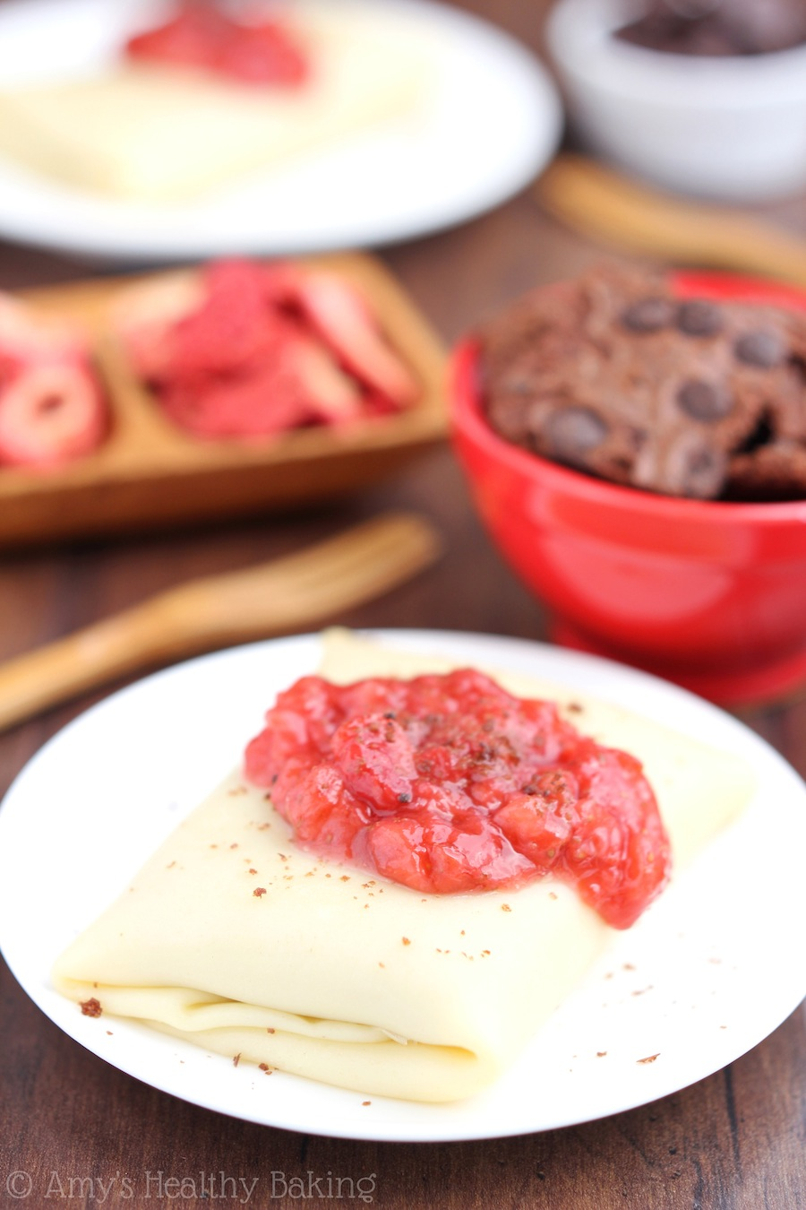 Skinny Strawberry & Chocolate Brownie Blintzes -- just 150 calories! This healthy breakfast recipe tastes like dessert!