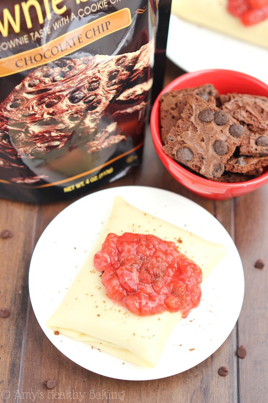 Skinny Strawberry & Chocolate Brownie Blintzes -- just 150 calories! This healthy breakfast recipe tastes like dessert!