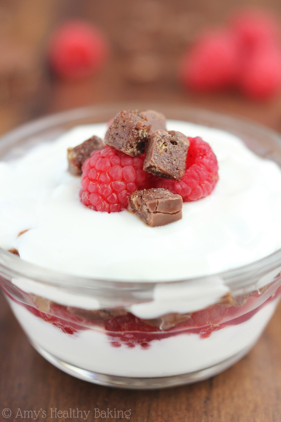 Chocolate Raspberry Protein Parfaits -- these taste like dessert! Only 4 ingredients & 22 grams of protein!
