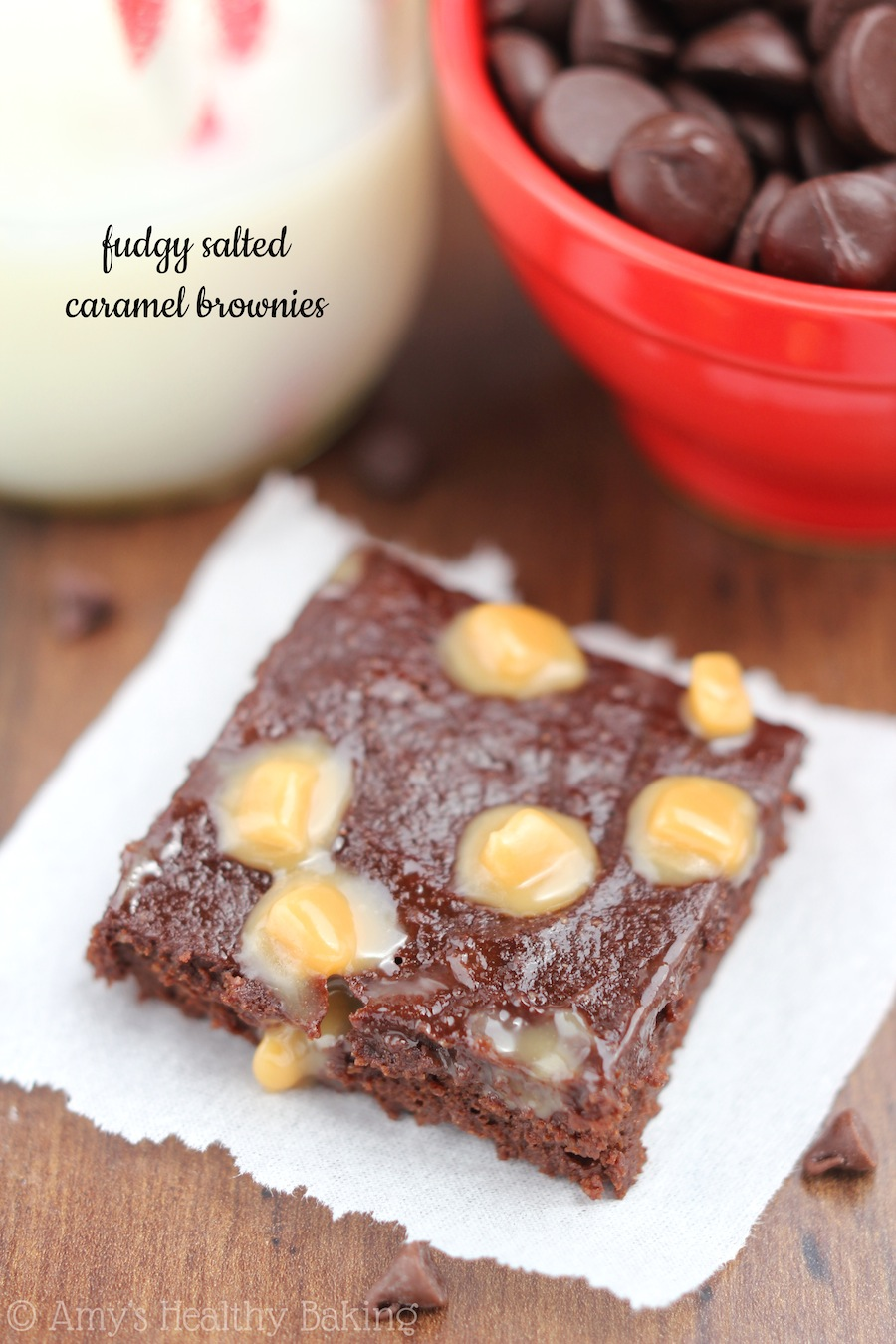Fudgy Salted Caramel Brownies -- so rich, it's like eating fudge! They're the BEST brownies you'll ever make & they're secretly healthy!
