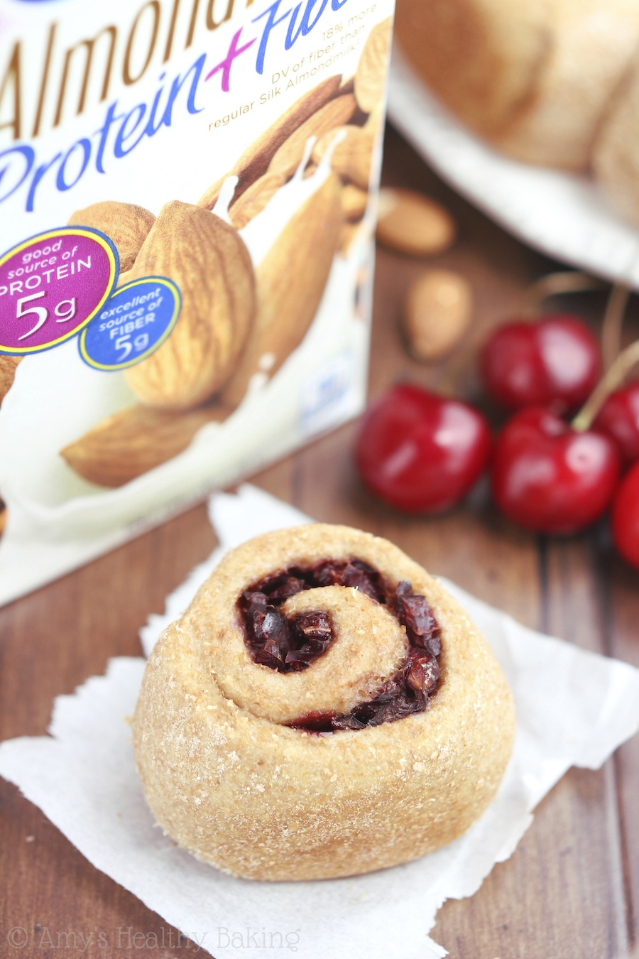 Overnight Whole Wheat Cherry Almond Rolls -- SO easy & sweet. Our new favorite breakfast & they don't even taste healthy!