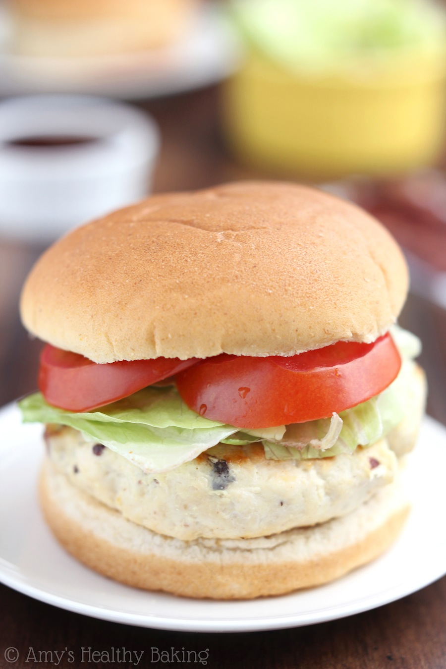 Skinny BBQ Bacon Chicken Burgers -- moist, juicy & packed with 32 grams of protein! Even the guys loved them!