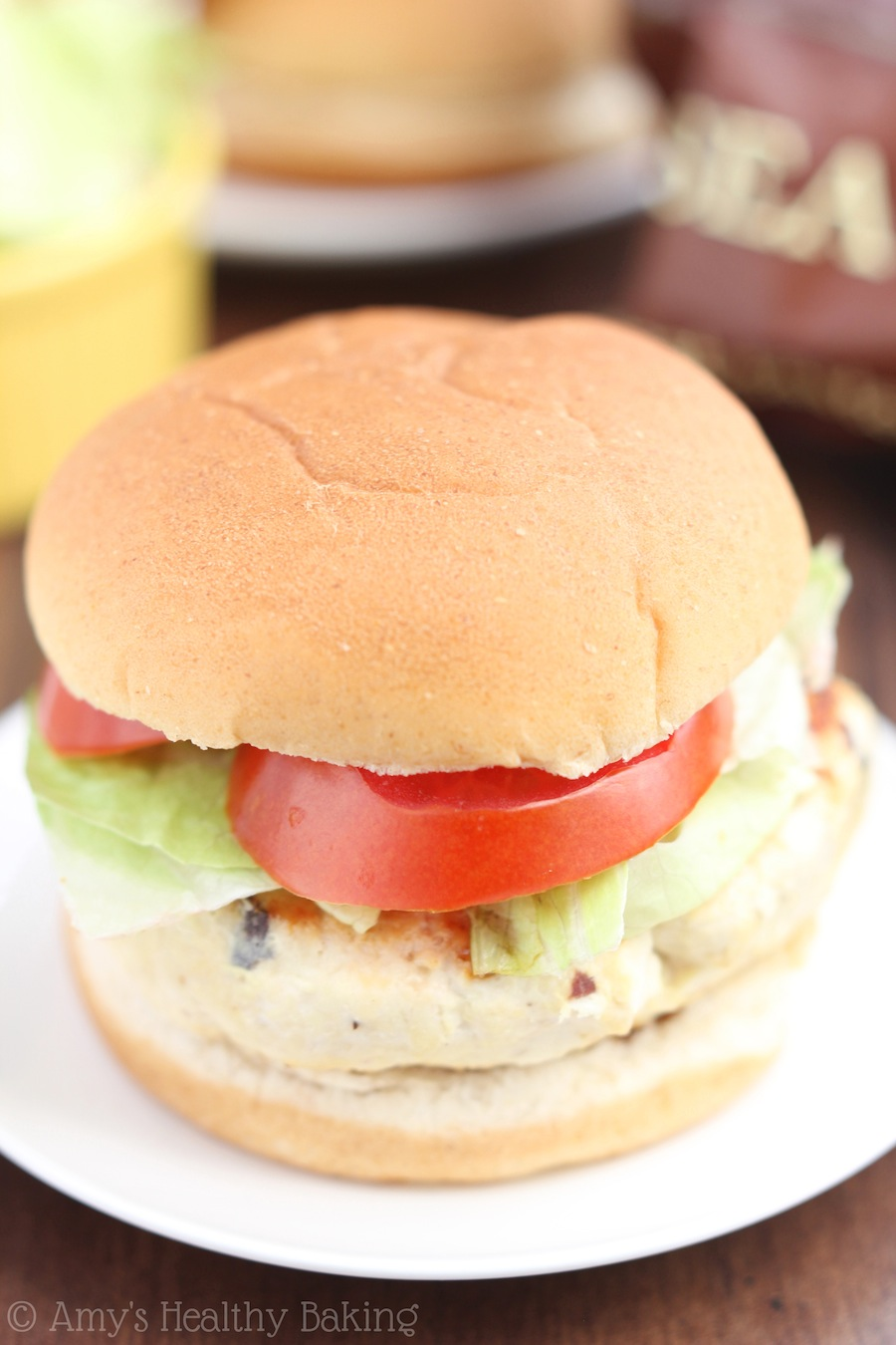 Skinny Bbq Bacon Chicken Burgers Amy S Healthy Baking