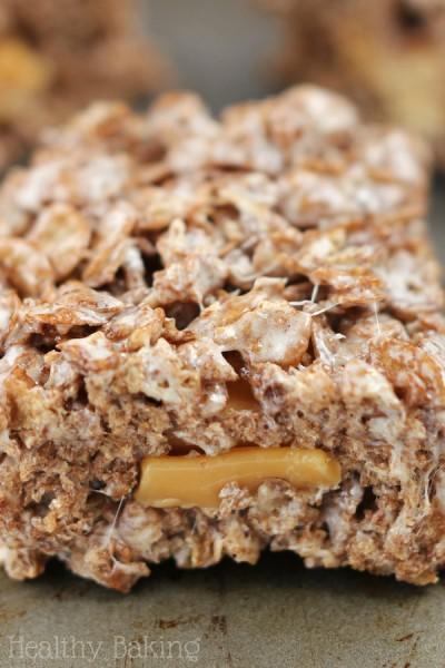 Caramel-Stuffed Chocolate Cereal Treats