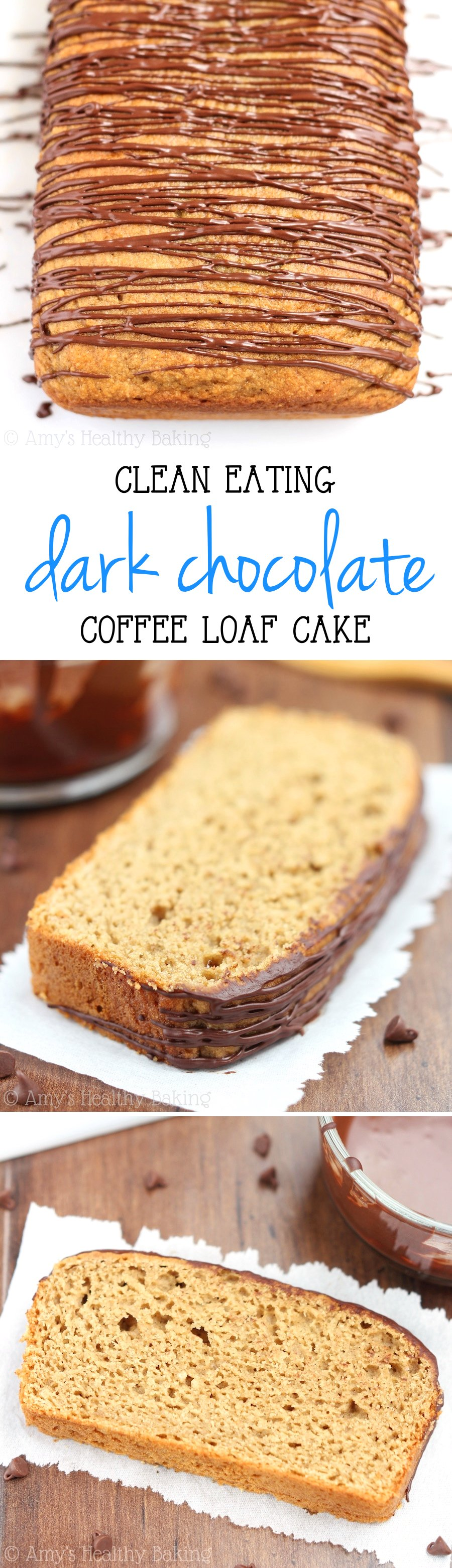 Clean-Eating Coffee Loaf Cake + Dark Chocolate Drizzle -- so easy, no mixer required! You'd never guess it's healthy & under 150 calories!