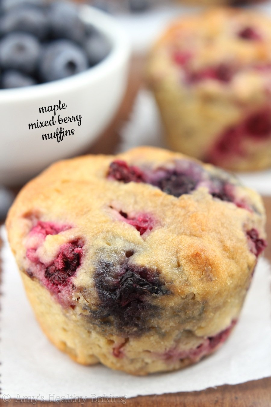 An easy recipe for tender wholegrain muffins full of juicy berries! It ...