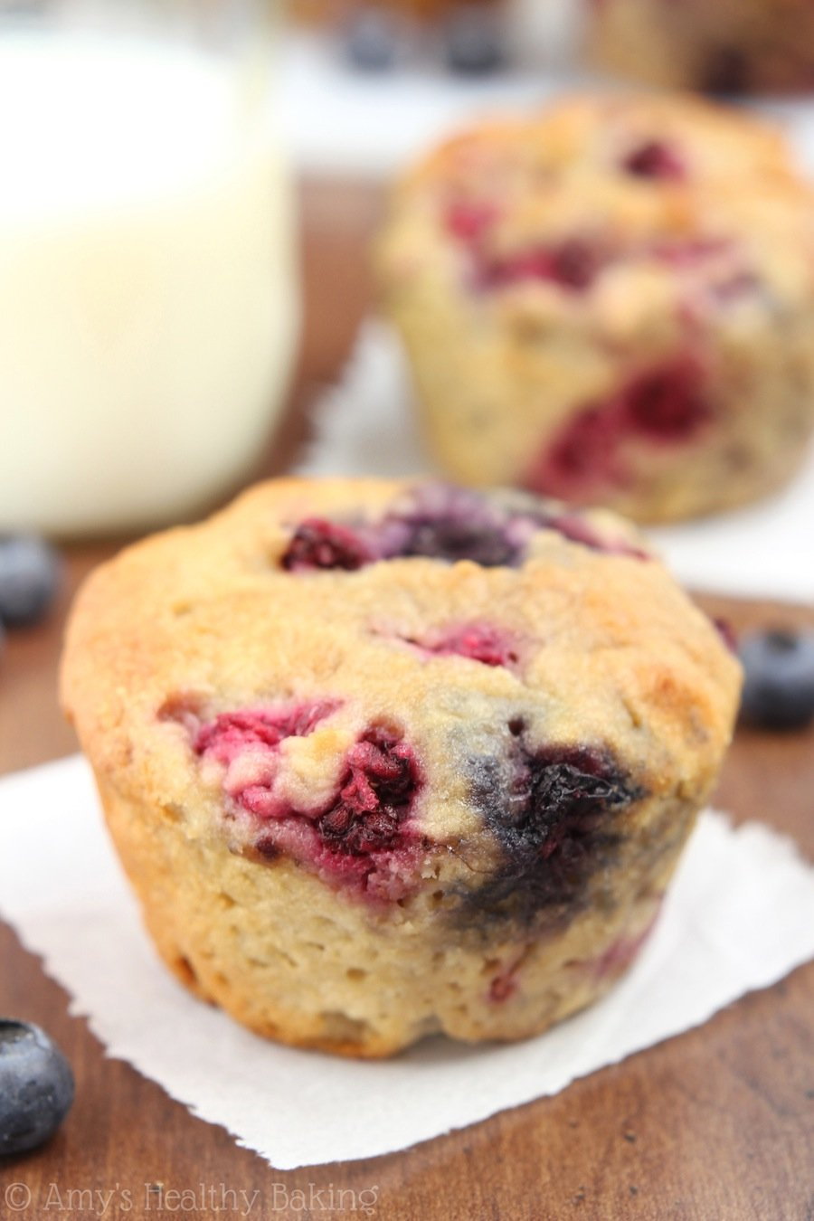 Maple Mixed Berry Muffins -- my new favorite recipe! They practically taste like cupcakes, not healthy at all!