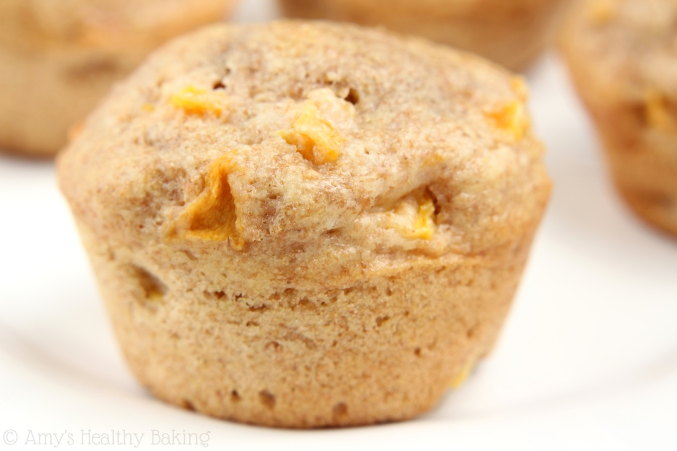 Whole Wheat Honey Peach Muffins -- a healthy, clean-eating breakfast or snack!