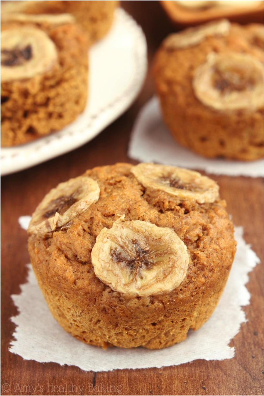 Healthy Banana Gingerbread Muffins -- the best cold-weather treat! So warm & cozy. They always disappear in minutes!