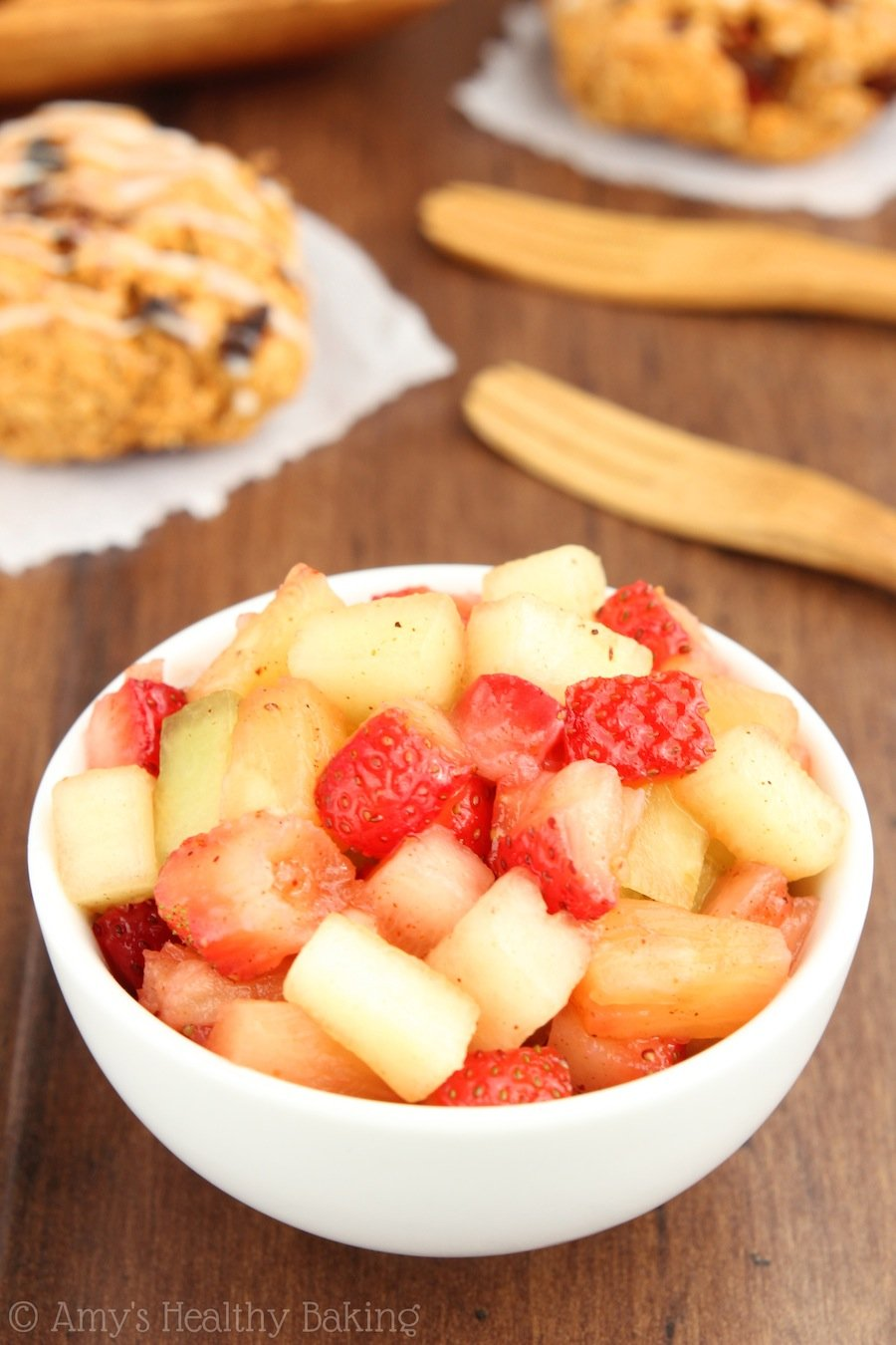 Chili-Spiced Fruit Salsa -- a sweet twist! Seriously addictive... We skipped the chips & ate it with spoons!