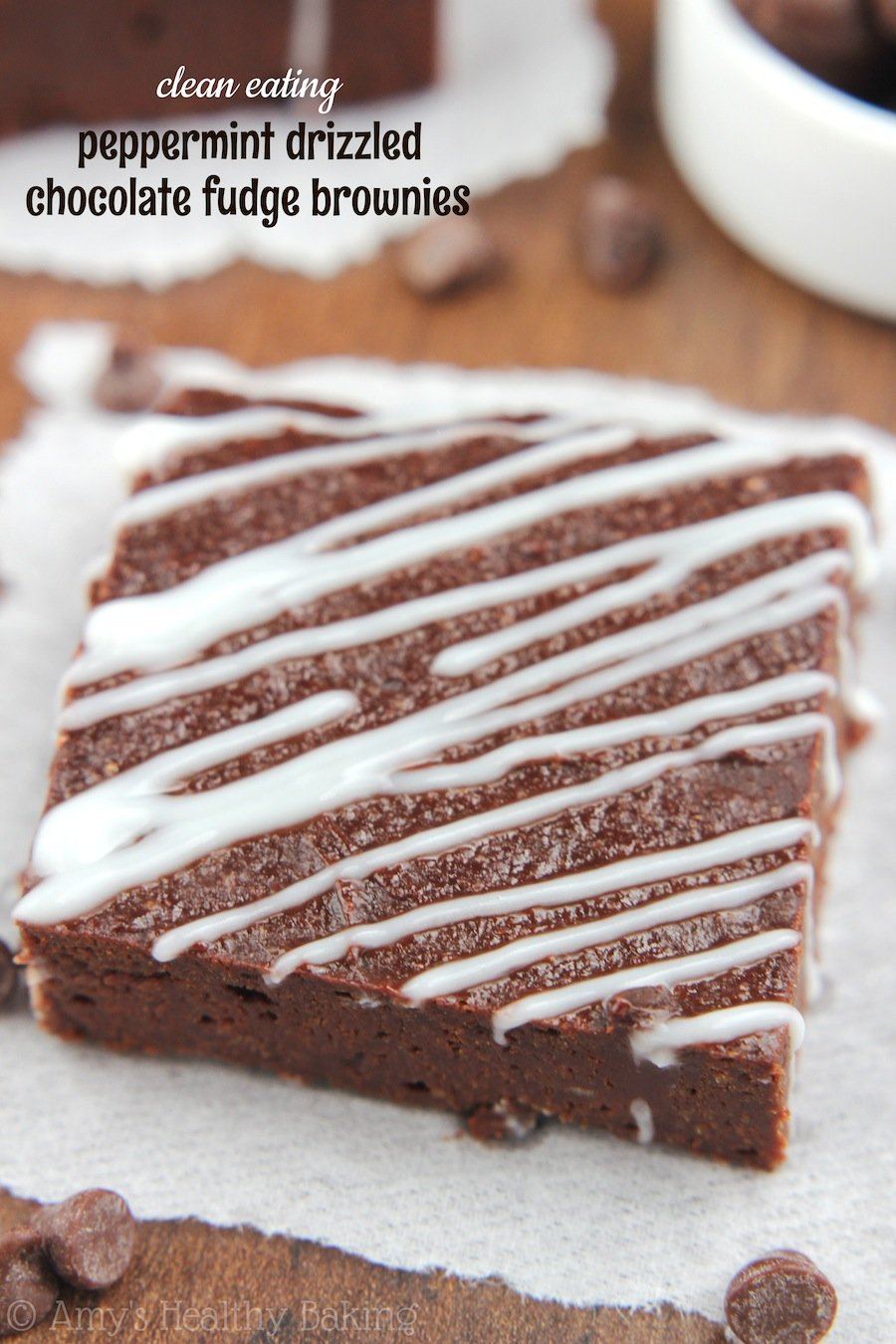 Peppermint Drizzled Chocolate Fudge Brownies