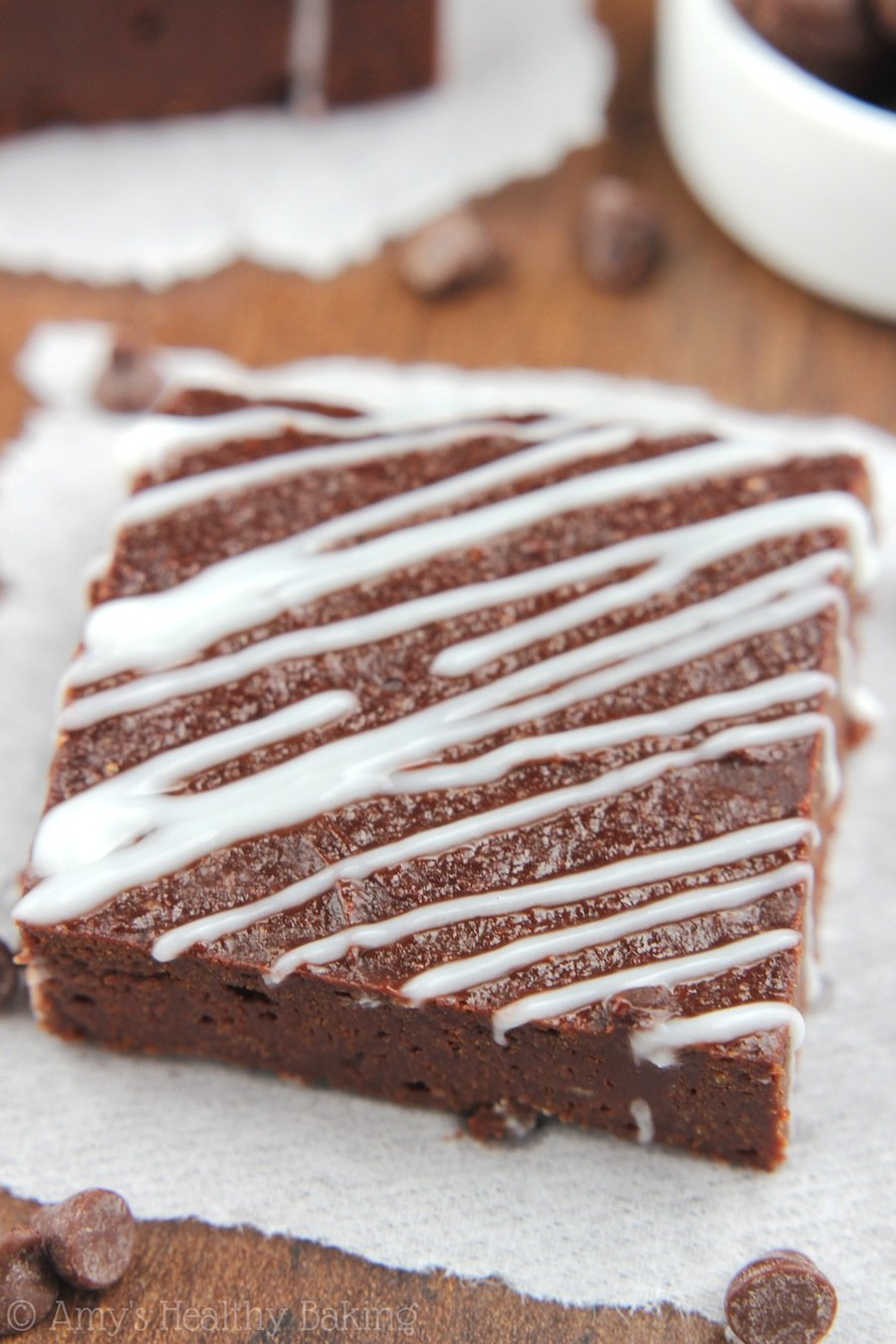 {Healthy} Peppermint Drizzled Chocolate Fudge Brownies -- only 89 calories & NO refined flour or sugar! You'll never need another recipe. These literally taste like fudge!