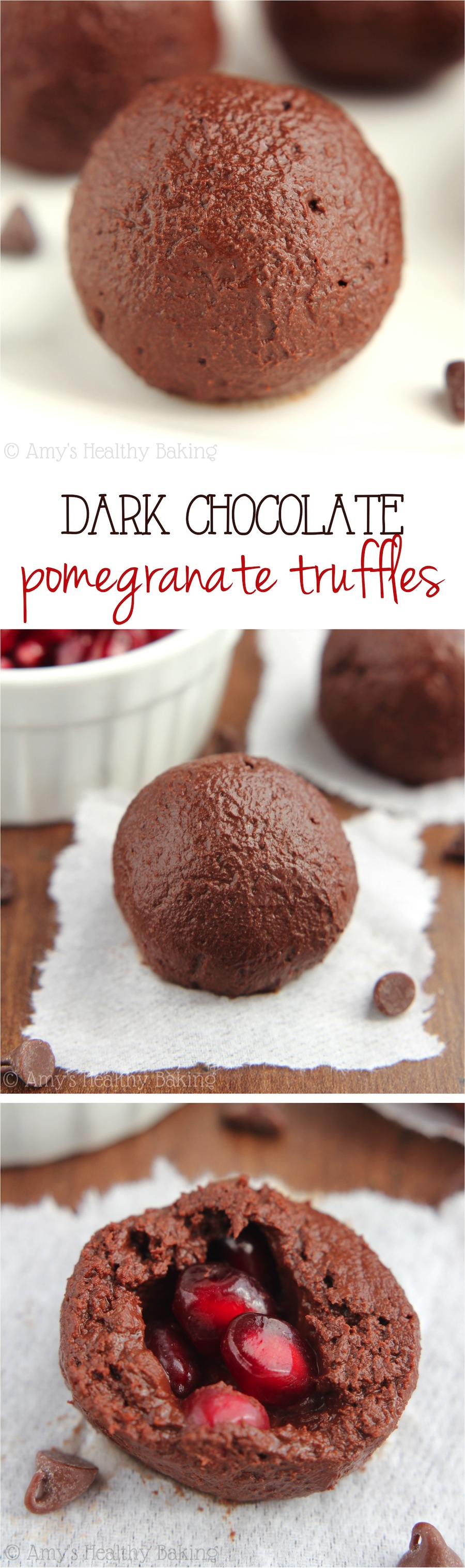 {Healthy} Dark Chocolate Pomegranate Truffles -- just 29 calories! We ate the whole batch in one day... SO addictive!