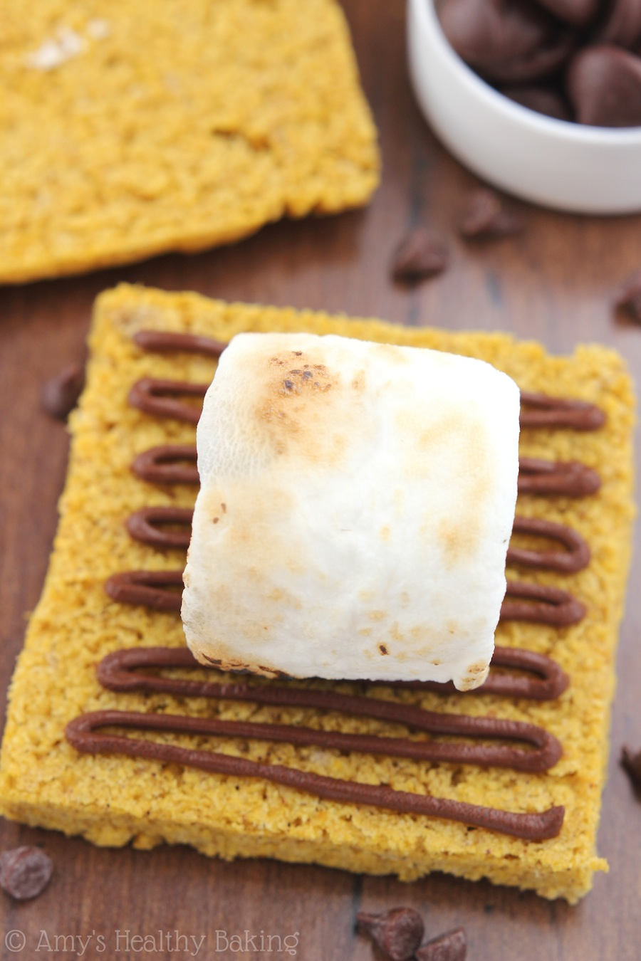 Pumpkin Shortcake S'mores -- the BEST s'mores I've ever eaten! Ooey gooey, super easy & made indoors!