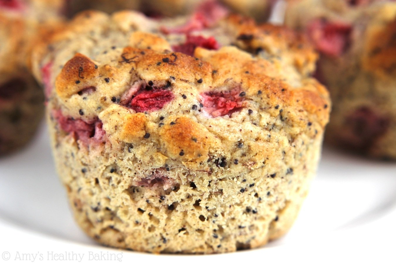 Strawberry Banana Poppy Seed Muffins -- so light & tender! They practically taste like cupcakes!