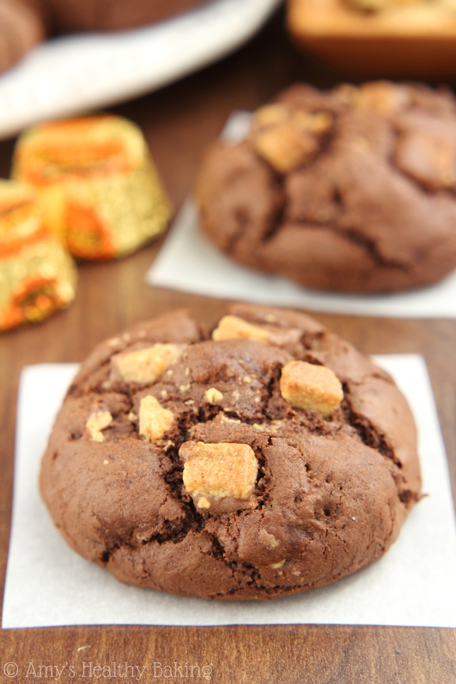 Peanut Butter Cup Chocolate Cookies | Amy's Healthy Baking