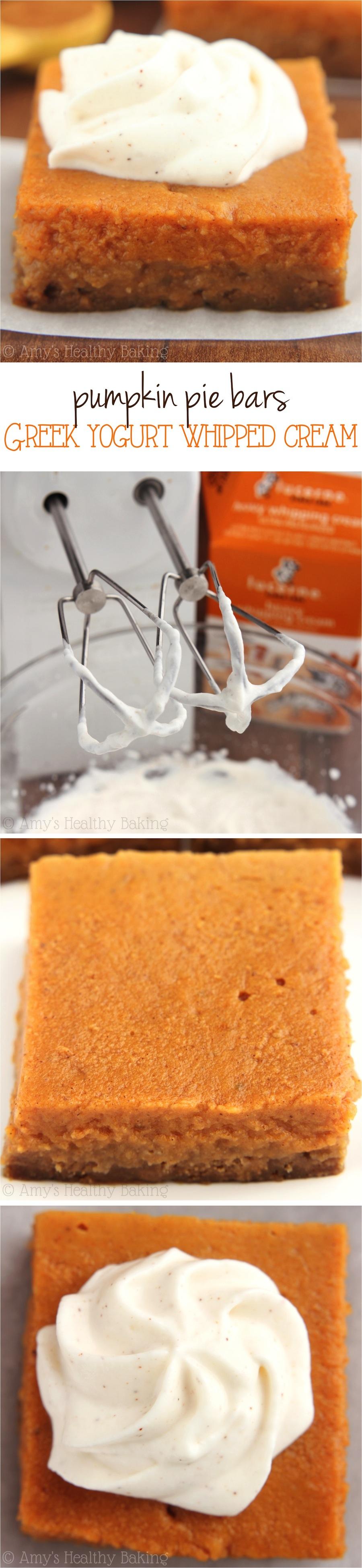 Pumpkin Pie Bars with Greek Yogurt Whipped Cream -- even better than ...