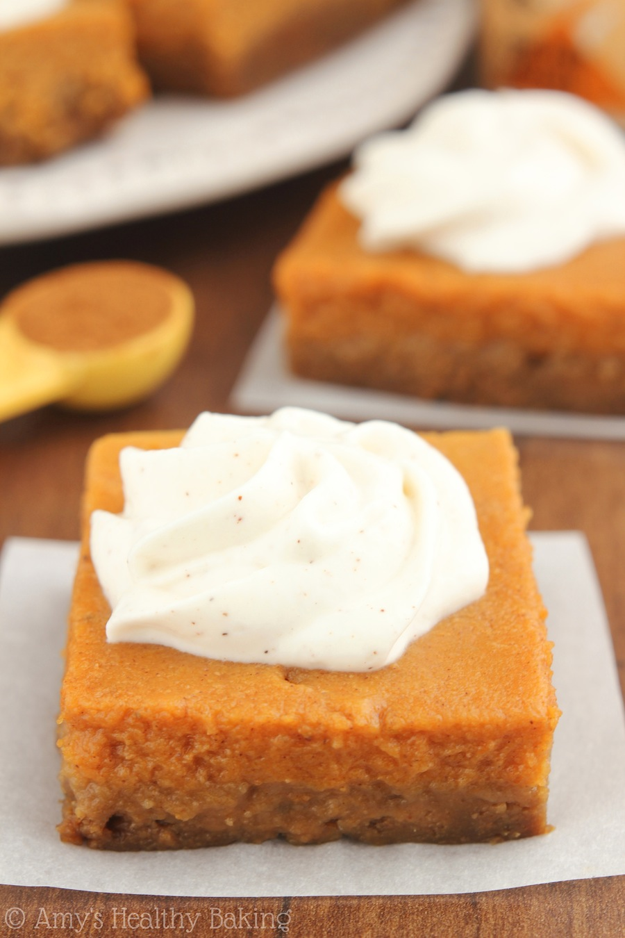 Pumpkin Pie Bars with Greek Yogurt Whipped Cream | Amy's ...