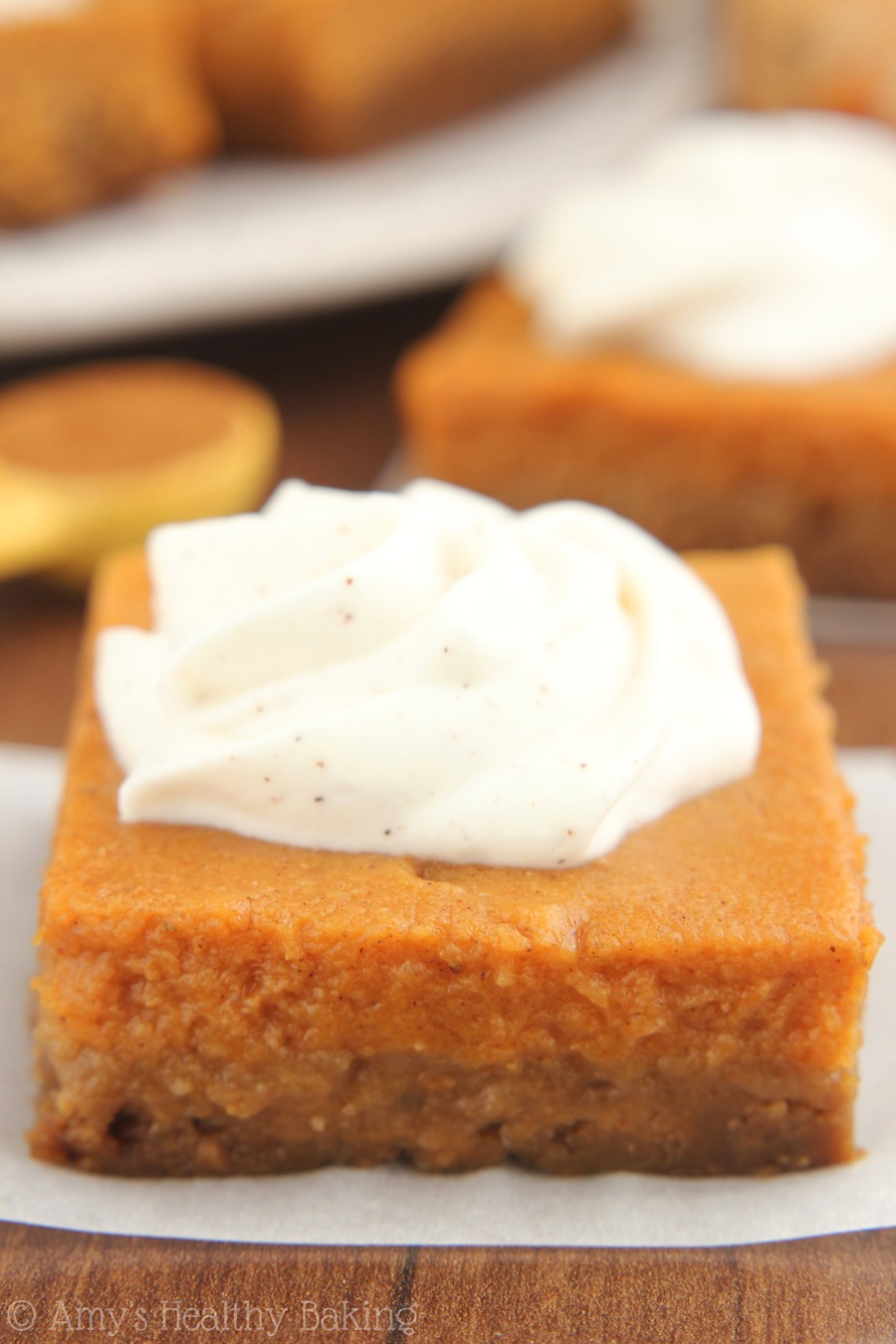 Pumpkin Pie Bars with Greek Yogurt Whipped Cream -- even better than ...