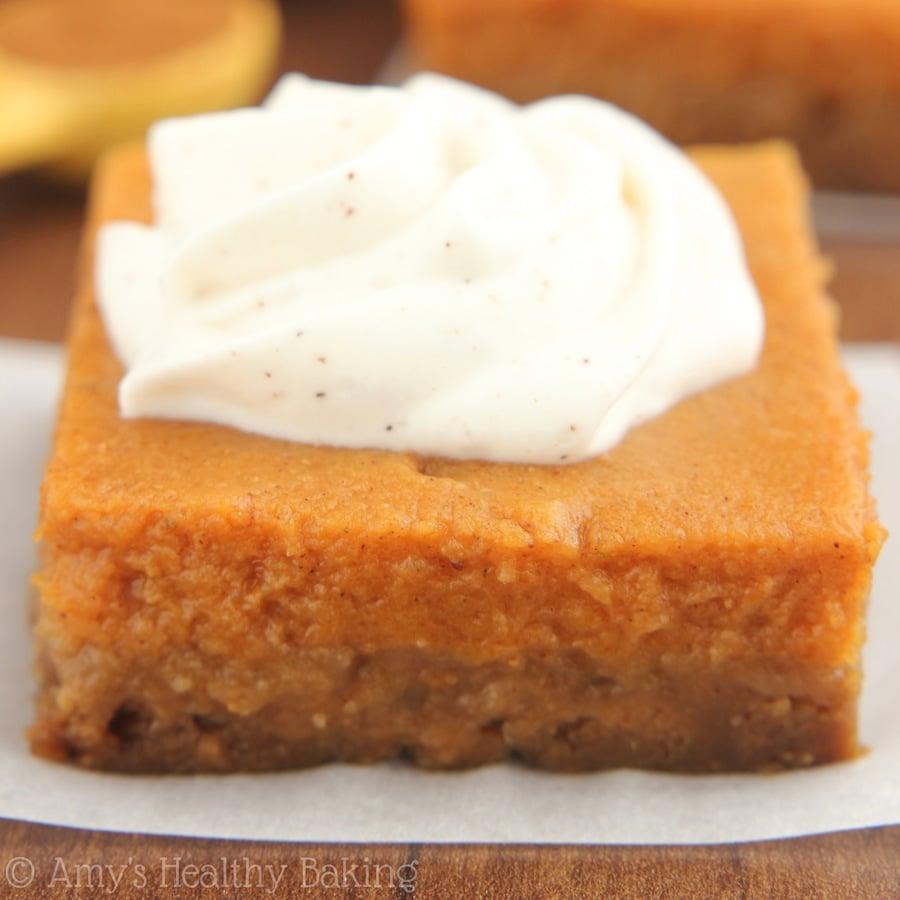 Pumpkin Pie Bars with Greek Yogurt Whipped Cream