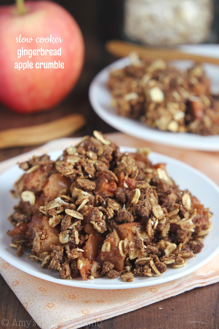 Slow Cooker Gingerbread Apple Crumble -- SO easy to make! And it's even healthy enough for breakfast!