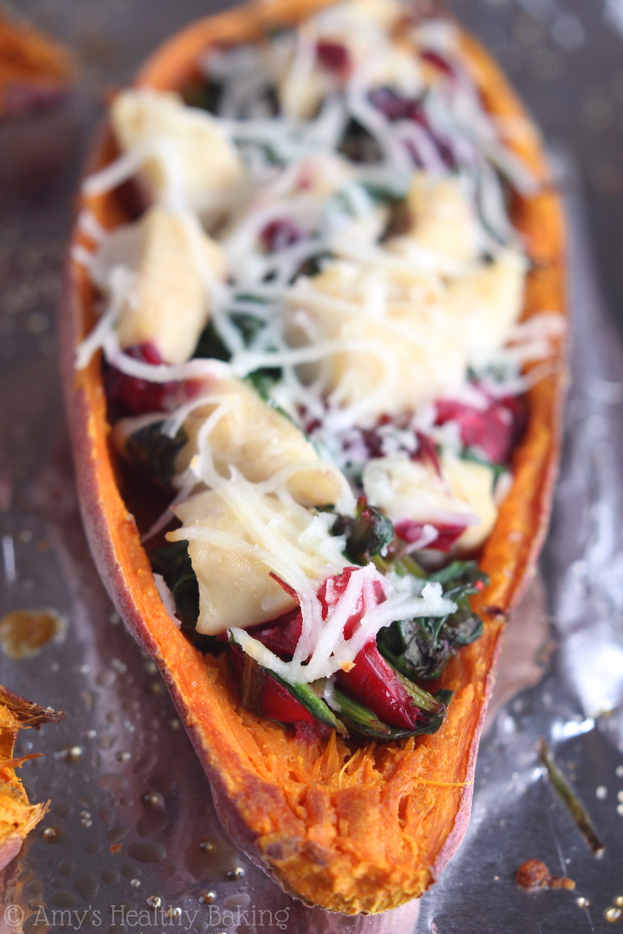 Easy Stuffed Sweet Potato Skins -- only 5 ingredients & 20+ grams of protein! Perfect for holiday leftovers or an easy weeknight meal!