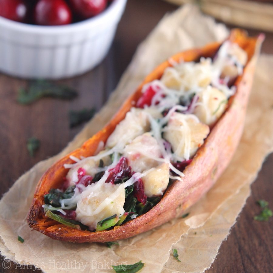 Chicken & Cranberry Sweet Potato Skins