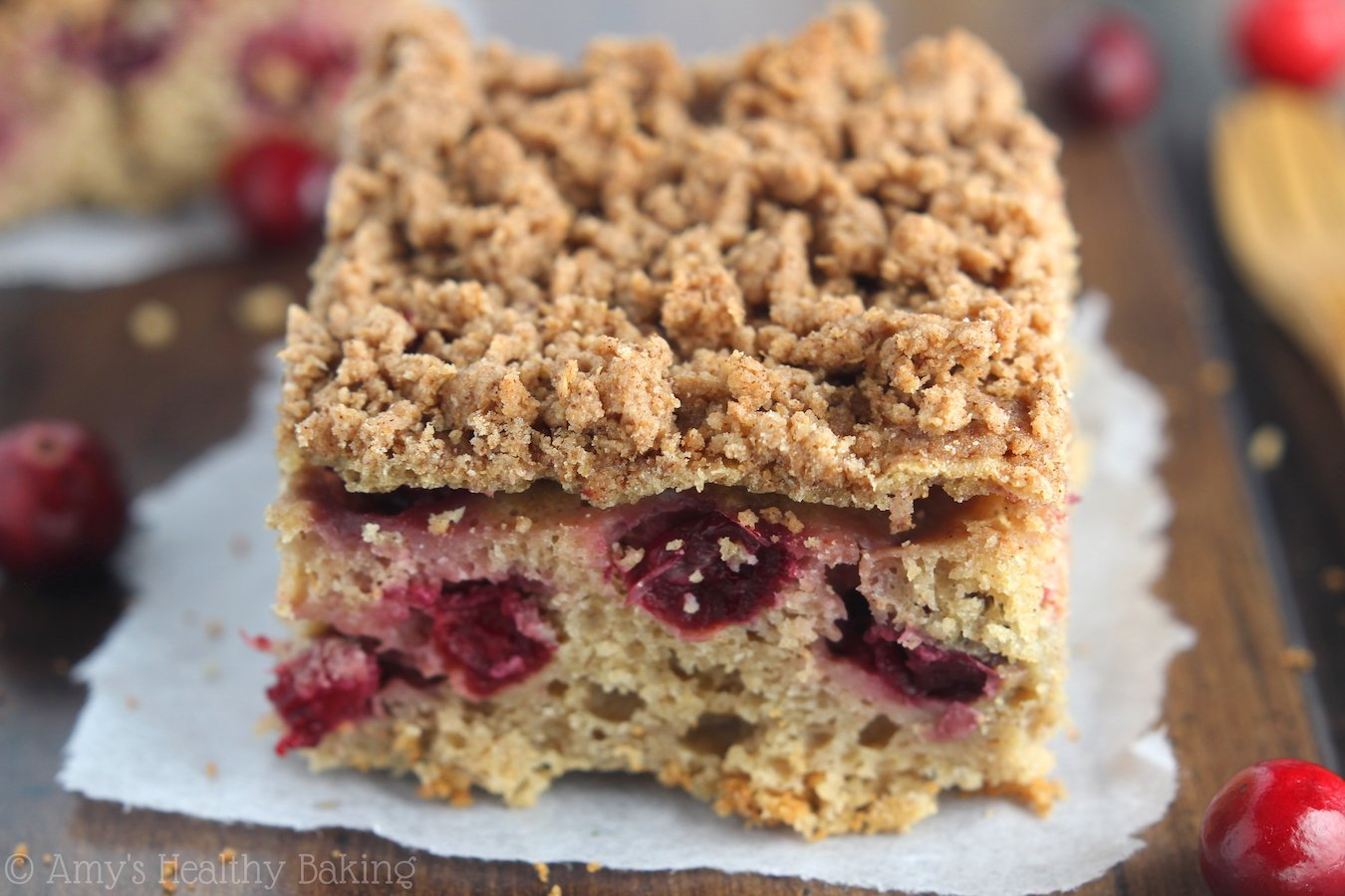 "Eat ""dessert"" for breakfast with this easy Cranberry Crumb Coffee Cake! It's clean, healthy & has the most addictive cinnamon streusel!"